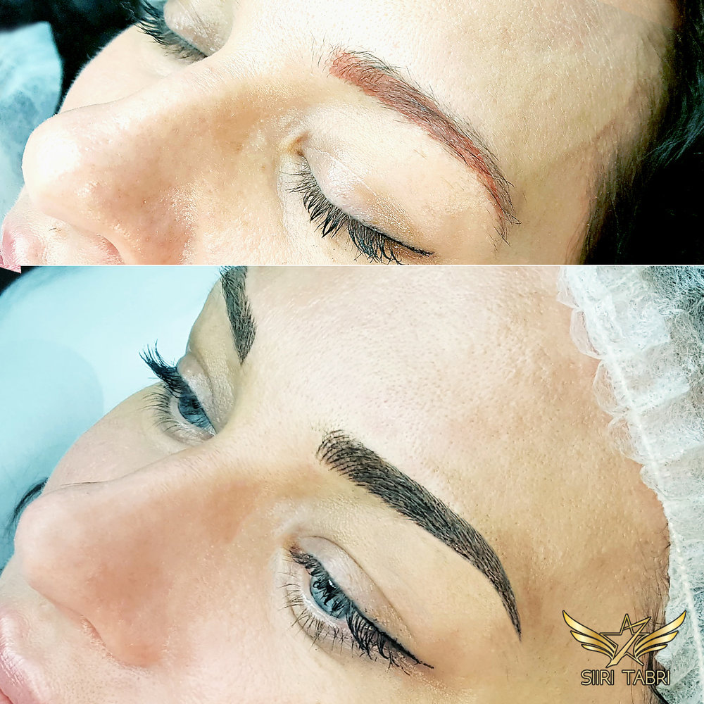 SharpBrows Light microblading. Quite a challenging starting situation - we had to fix an old pigmentation.