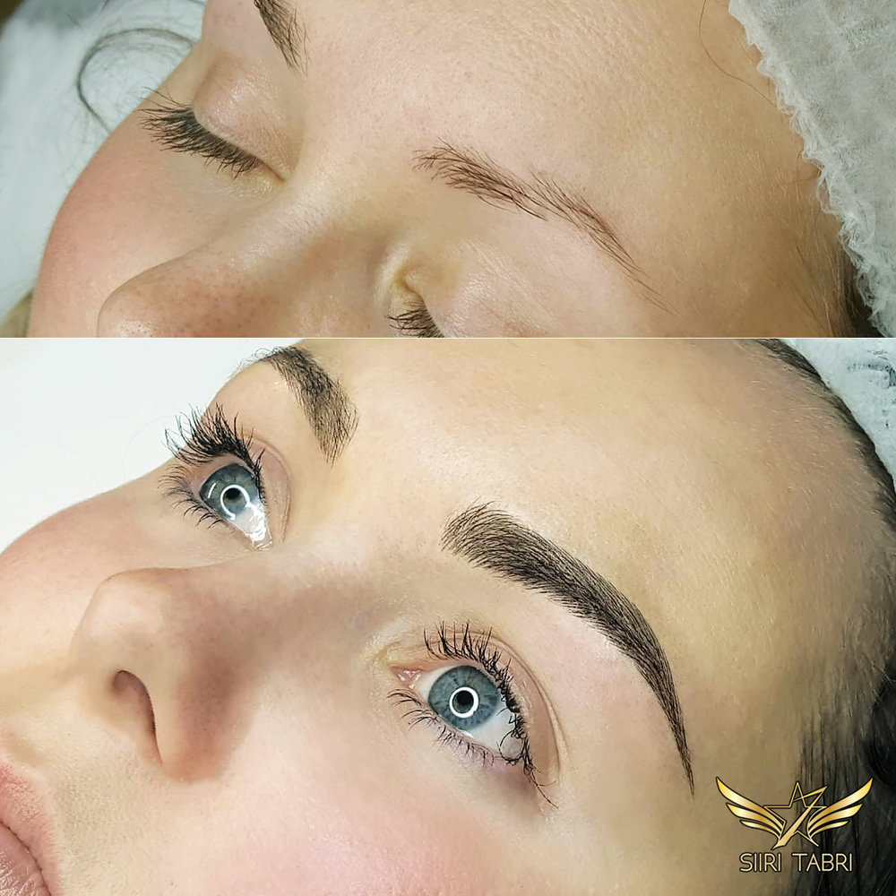 Light microblading. Another perfect looking brow made from a very modest situation that is extremely common in Scandinavia.
