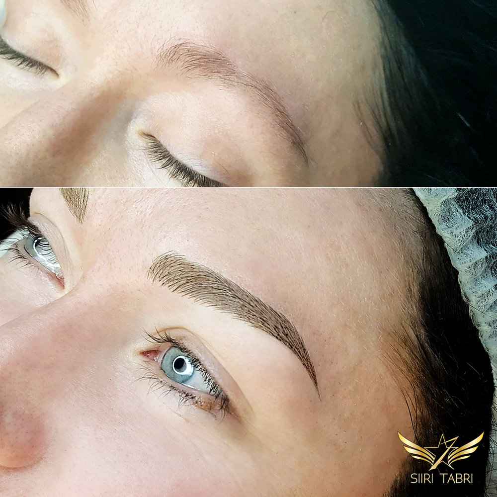 SharpBrows Light microblading. The initial situation was quite vague - we had to shape the brow and also add a lot of strokes.
