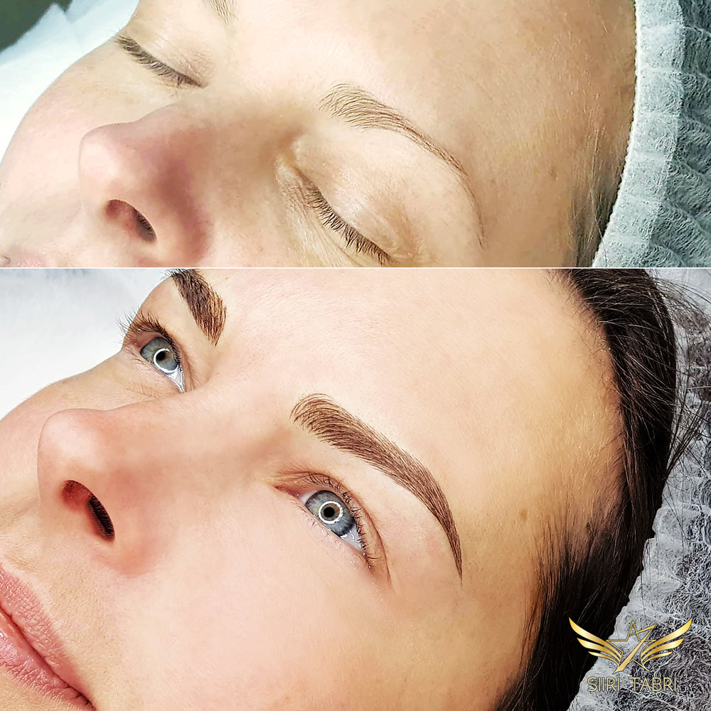 SharpBrows Light microblading. Incredible change from a very common starting position.