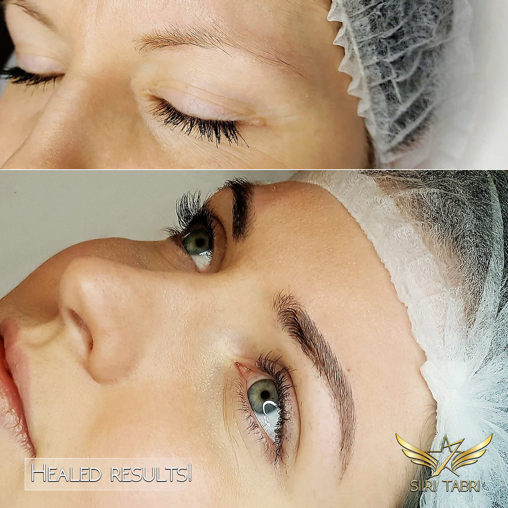 HEALED RESULTS. The healed results of Light microblading are incredible. Practically no retouch is needed. All lines are seen, just a bit lighter as it should be.