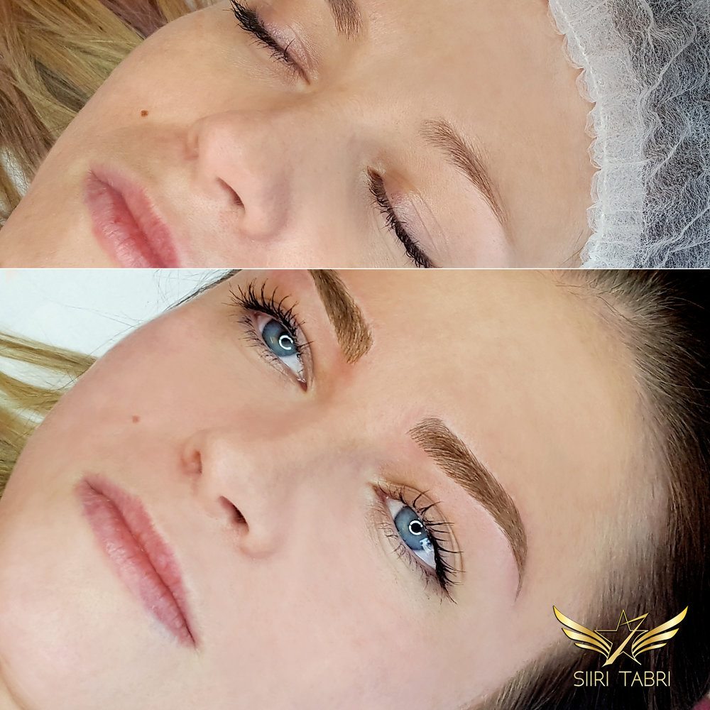 SharpBrows Light microblading. An example how brows can become lusher and better with Light microblading.