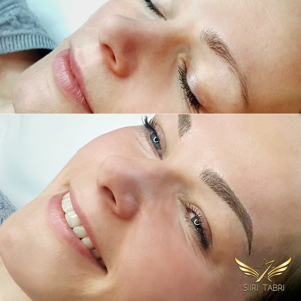 SharpBrows Light microblading. Typical Scandinavian weak and uneven brow corrected to perfection with Light microblading.