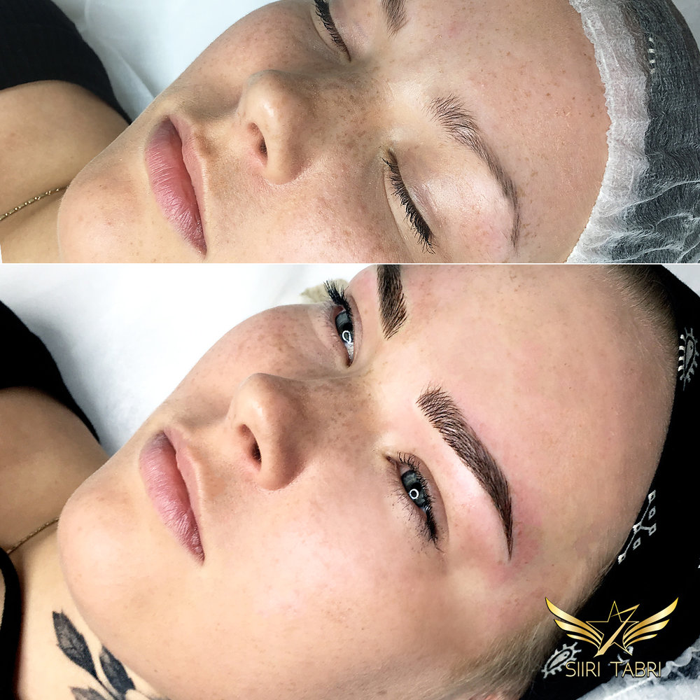 Light microblading - This stylish and beautiful lady deserved better brows with SharpBrows Light microblading.
