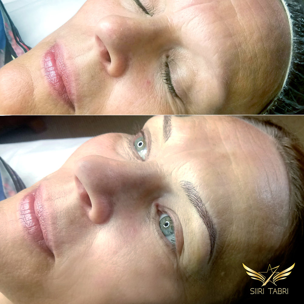 Light microblading - As can be seen in the before picture the client had absolutely nothing in the beginning. End-result is amazing.