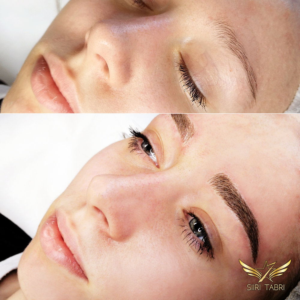 Light microblading. The initial brow was a bit oddly shaped and needed quite a bit of intervention. With Light microblading results are supreme.