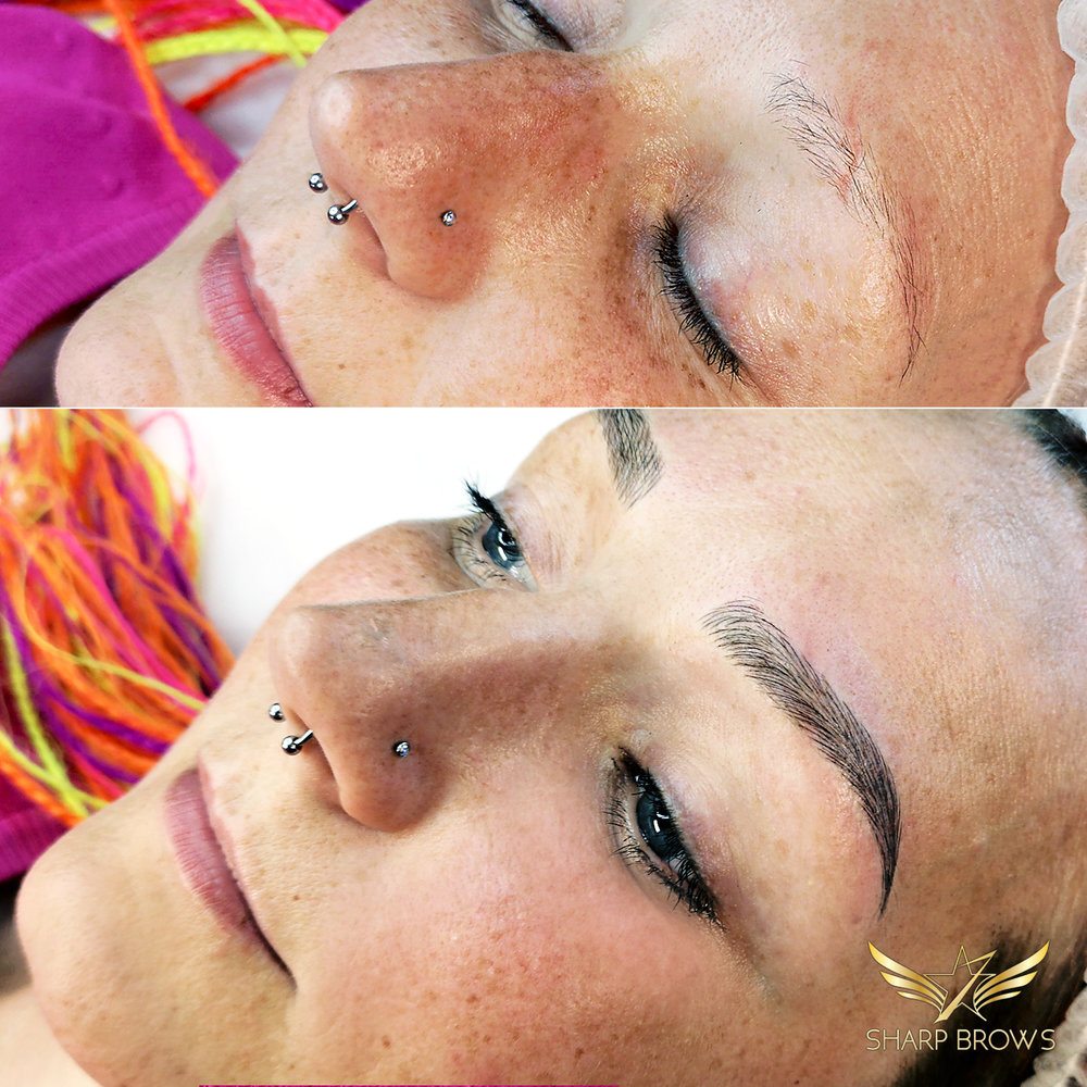 SharpBrows Light microblading - Insane change! In the before picture you can see that there is absolutely no brow. After picture is the end-result!