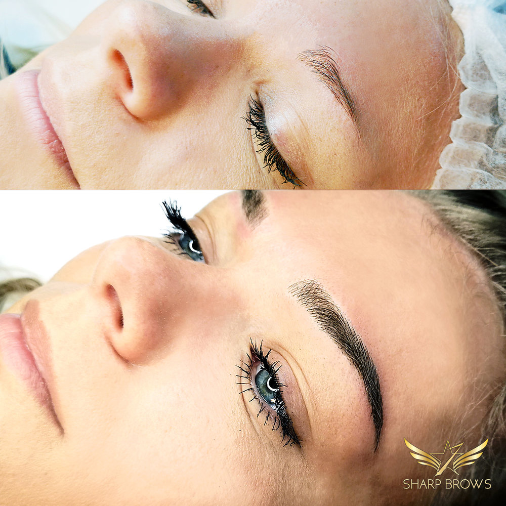 Light microblading- Brow developed from the scratch. The initial situation was pretty bad.