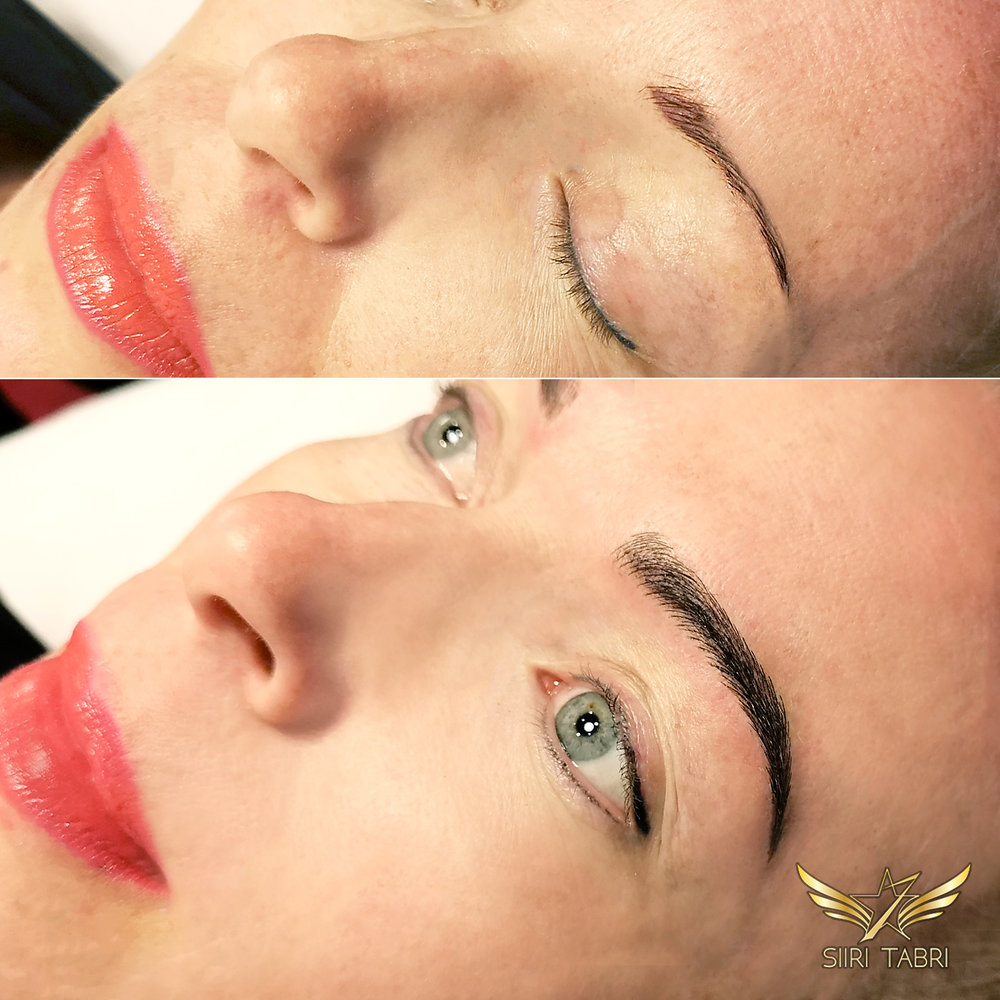 Light microblading - An example how a small pigmented brow is turned into lush and beautiful Light microblading brow.