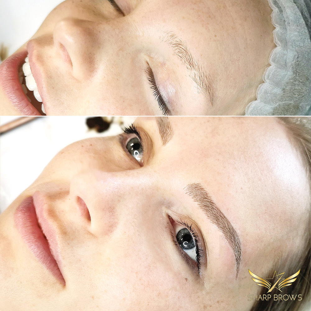 Light microblading - The starting situation was quite weak – the brow was thin and oddly shaped. The end result with Light microblading looks natural and lush.