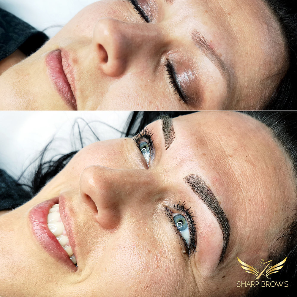 Light microblading. The clinet changed totally as a result of the procedure: facial expression, overall look, everything.