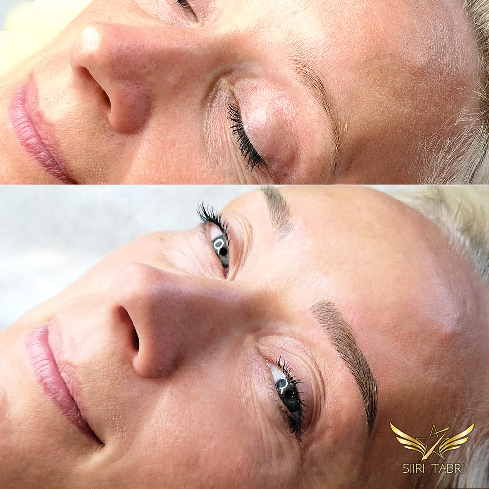 Light microblading - Initially there was practically no brow at all - It was very Scandinavian: weak and thin. The end result is lush and pretty.