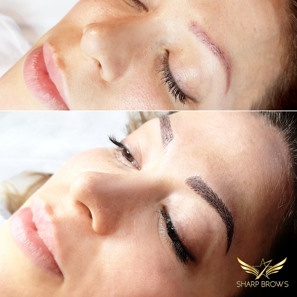 Light microblading. There are more and more clients coming with some sort of previous pigmentation or microblading. Light microblading is the best way to correct it because you can choose the color shade of the new brow so that it still looks natural.