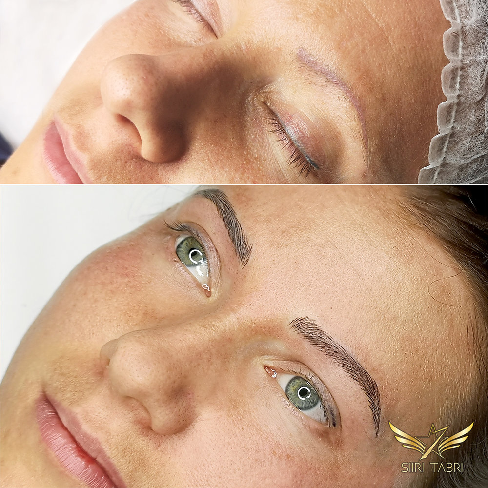 Light microblading. Is there anything, anything at all in common when it comes to those before and after brows.