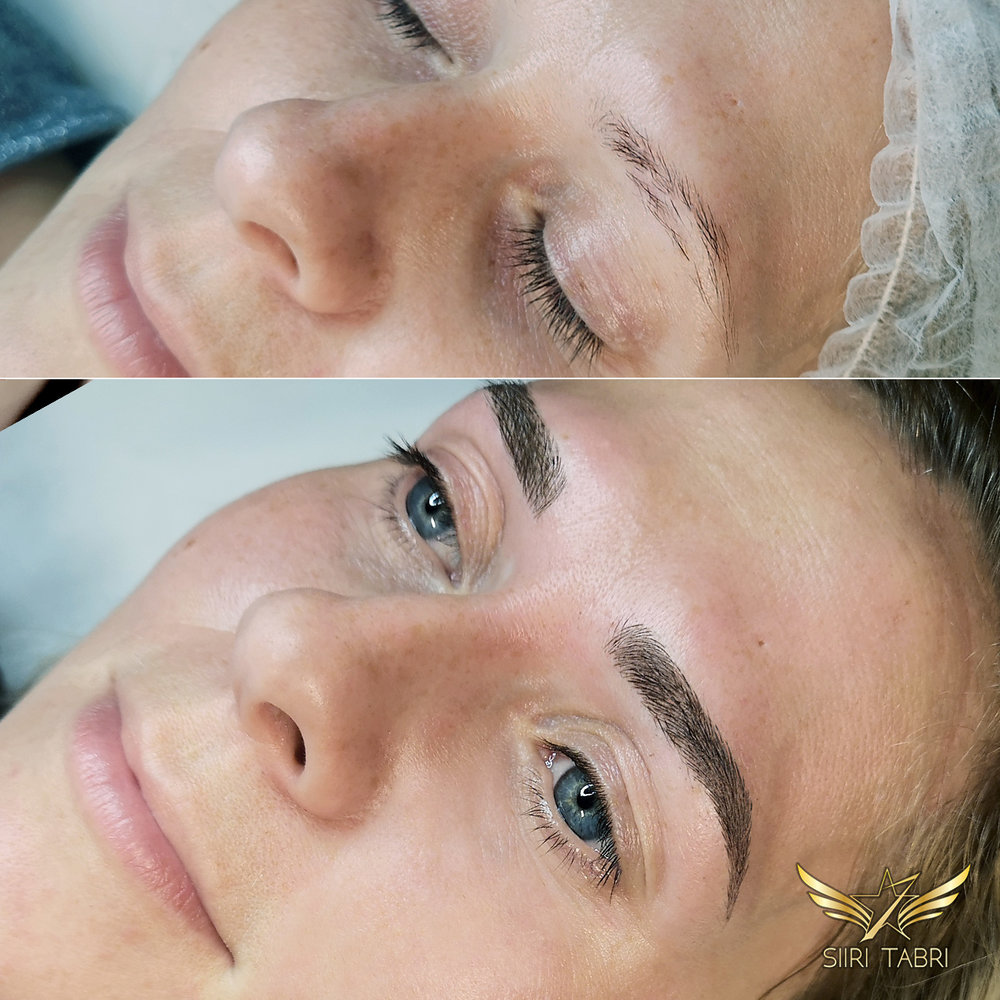 Light microblading. Sometimes the initial brow has a hole inside it. With Light microblading it can be fixed flawlessly.