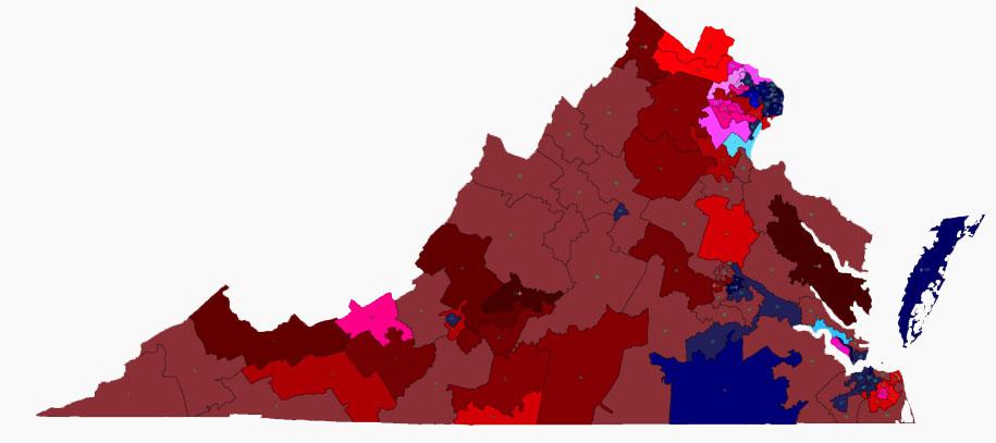 State legislative district map of Virginia