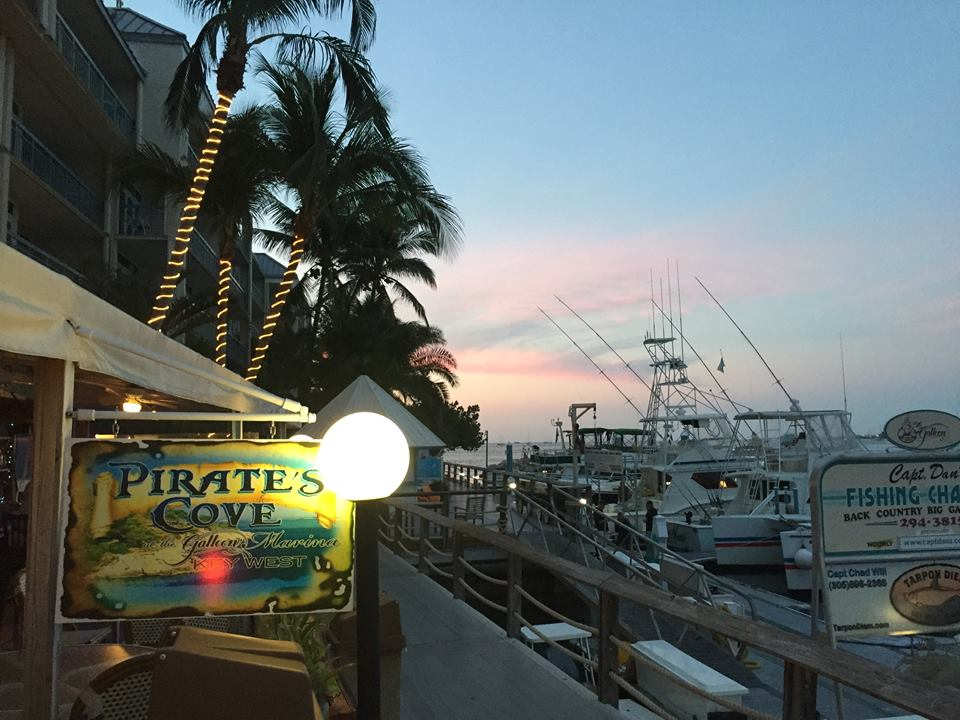 Pirate's Cove - Located at the Galleon Resort & Marina in the heart of Old Town, Key West. The Pirate's Cove serves an amazing array of fare for breakfast, lunch, and dinner. From seafood to burgers, from burritos to sushi, we have what you're craving. They can even cook your catch! They open at 7:00 AM and make boxed lunches for the Salty Goat fishermen!