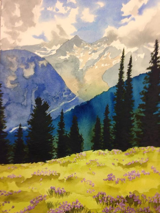 Mt. Rainier Watercolor