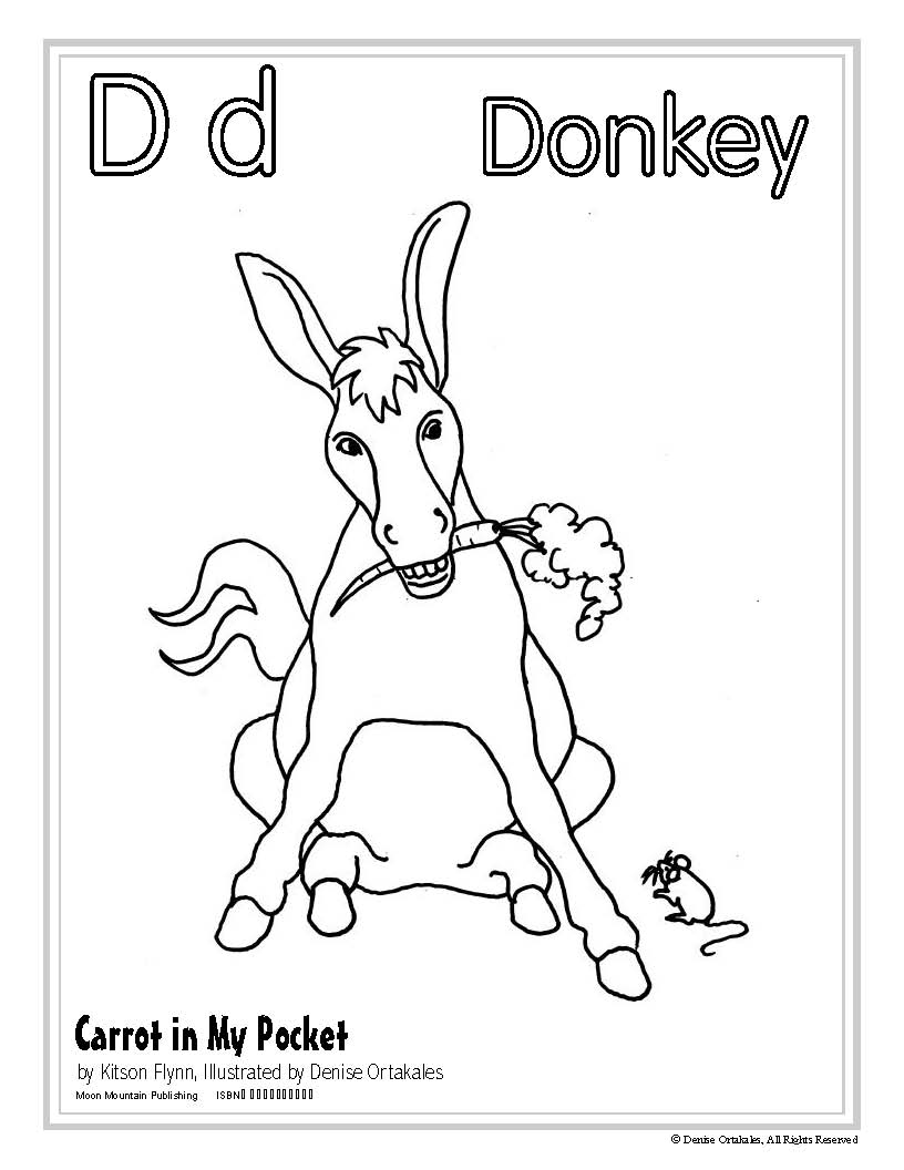 Donkey Coloring Page ©Denise Ortakales