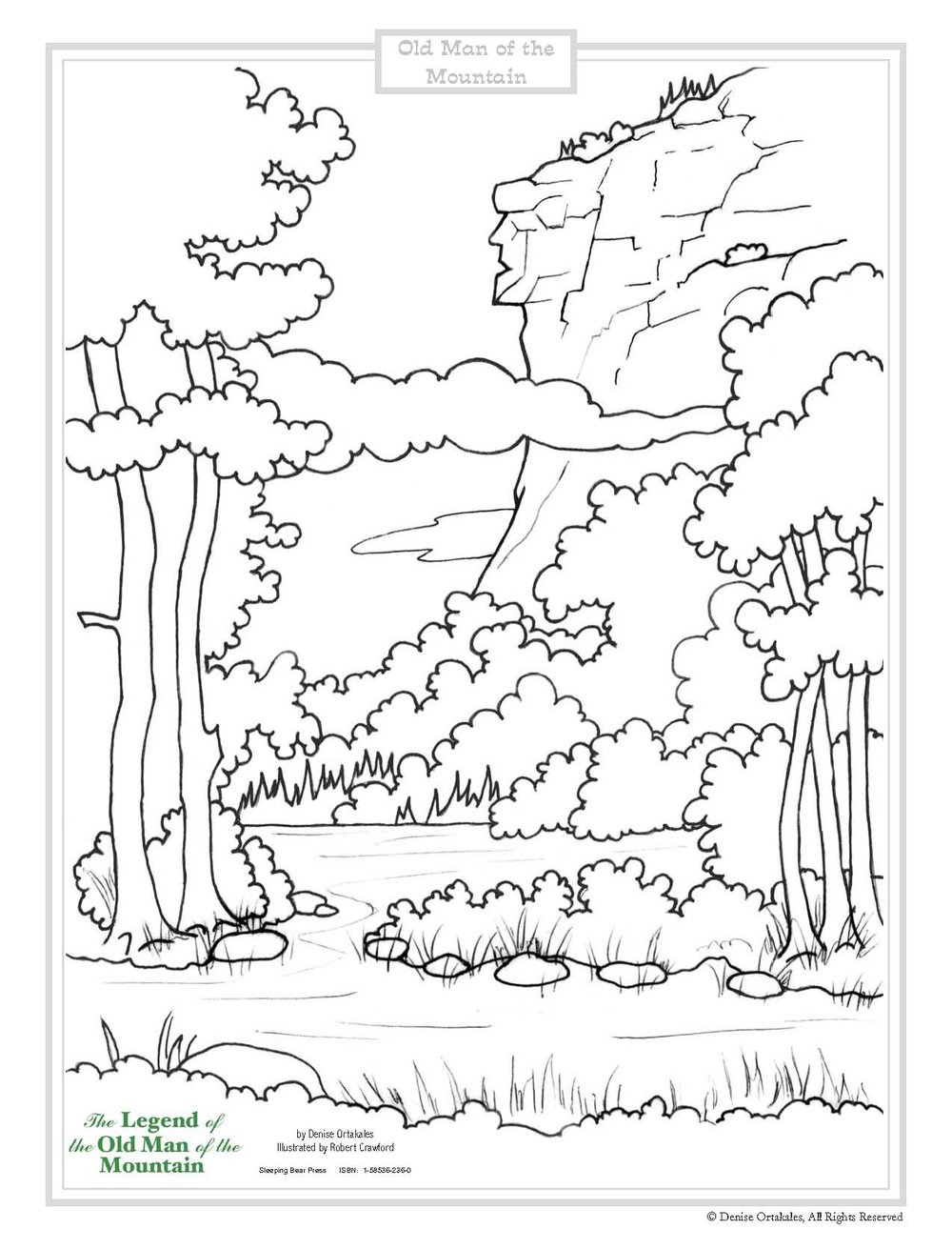 Old Man of the Mountain Coloring Page ©Denise Ortakales
