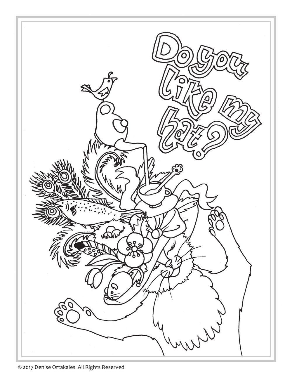 Go, Cat. Go! Coloring Page ©Denise Ortakales