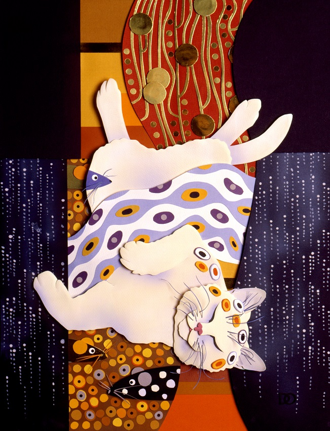 Klimt Kitty, sculpted paper. © 2003-2017 Denise Ortakales, all rights reserved.