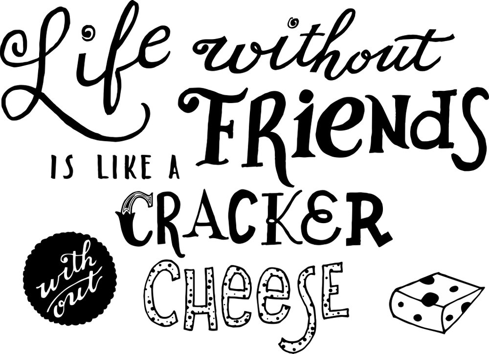 Friends & Crackers, pen and ink © Denise Ortakales