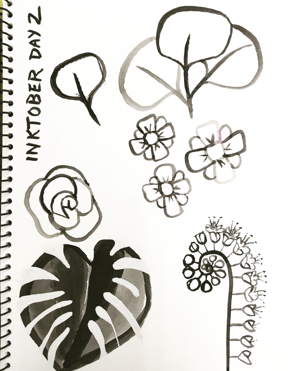 Day 2, brush and ink © Denise Ortakales