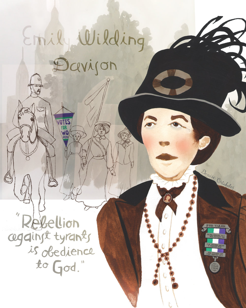 Emily Wilding Davison, gouache and digital © Denise Ortakales