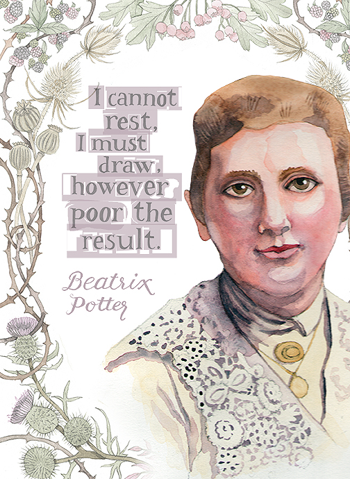 Beatrix Potter, watercolor, pen and ink, digital © Denise Ortakales