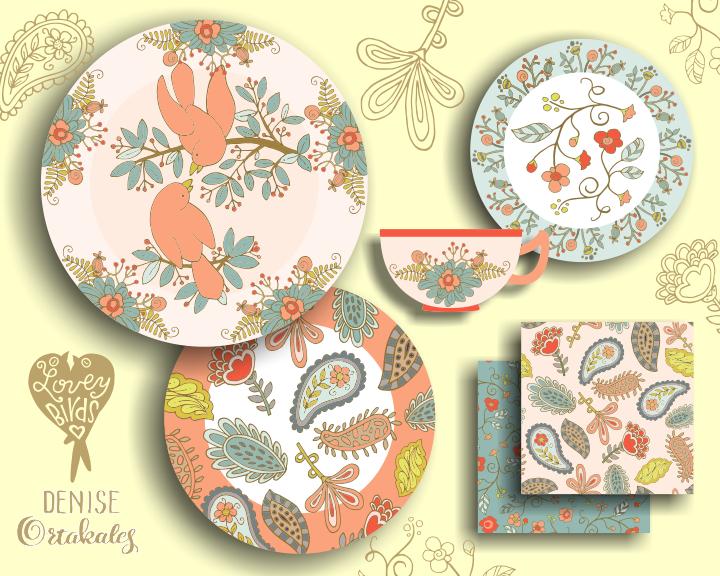 Lovey Birds Tableware © Denise Ortakales