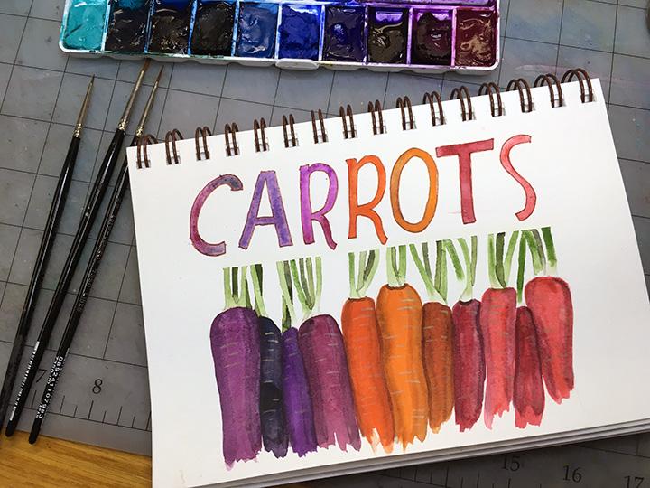 Carrots, watercolor © Denise Ortakales