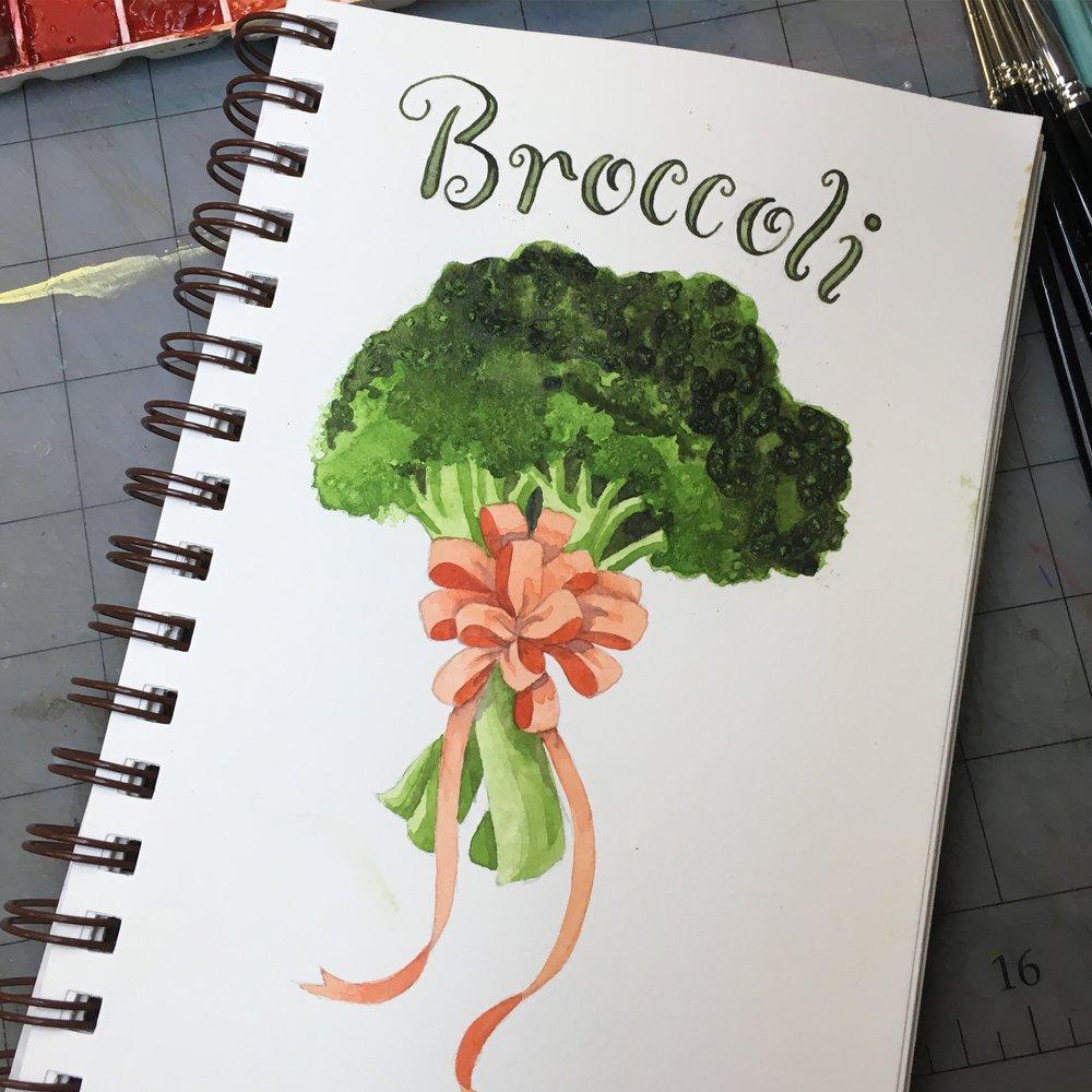 Broccoli, watercolor © Denise Ortakales