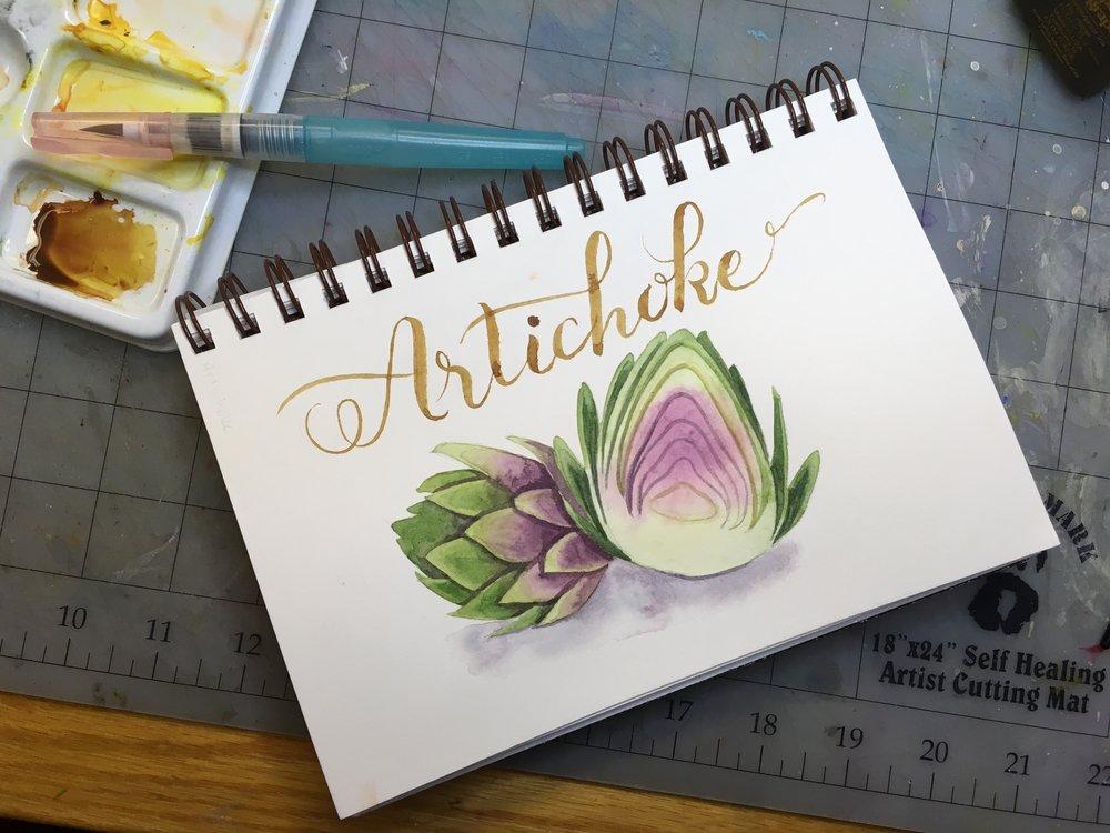 Artichoke, watercolor © Denise Ortakales