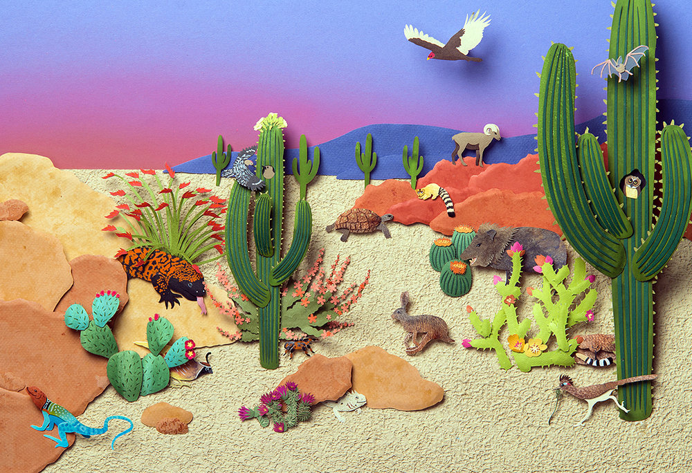 Desert at Dusk, paper sculpture © Denise Ortakales