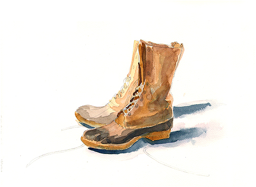 Boots study, watercolor © Denise Ortakales