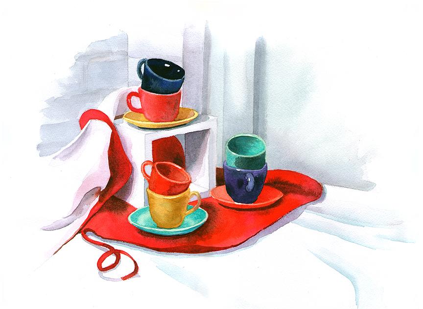 Fiestaware, watercolor © Denise Ortakales