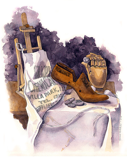 Studio Still Life, watercolor © Denise Ortakales