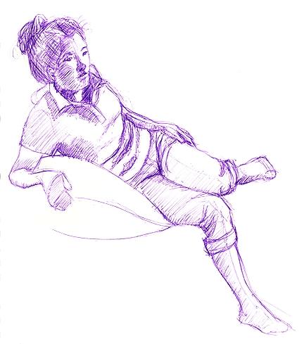 Model A, Pose 1, ball point pen © Denise Ortakales