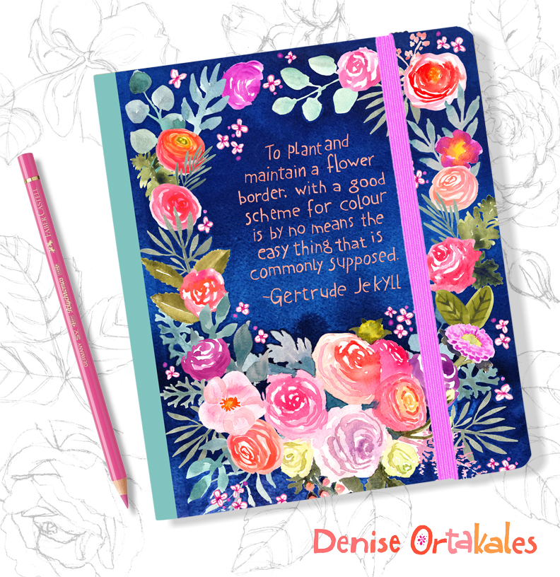 Gertrude Jekyll Rose Journal, watercolor © Denise Ortakales