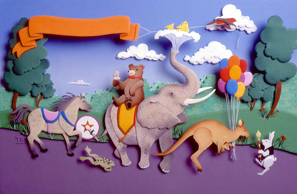 Animal Parade, paper sculpture © Denise Ortakales