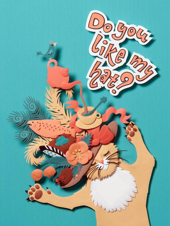 Go, Cat! Go!, paper sculpture © Denise Ortakales