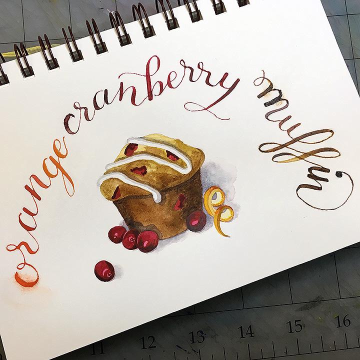 Cranberry-Orange Muffin, watercolor © Denise Ortakales
