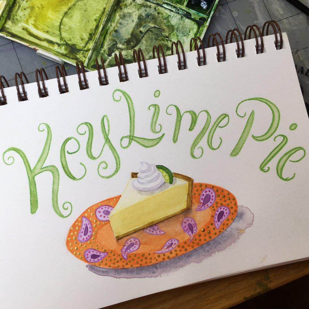 Key Lime Pie, watercolor © Denise Ortakales