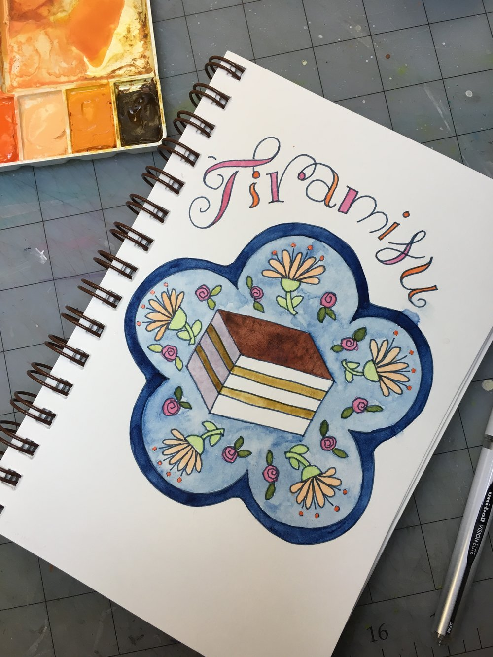 Tiramisu, watercolor © Denise Ortakales