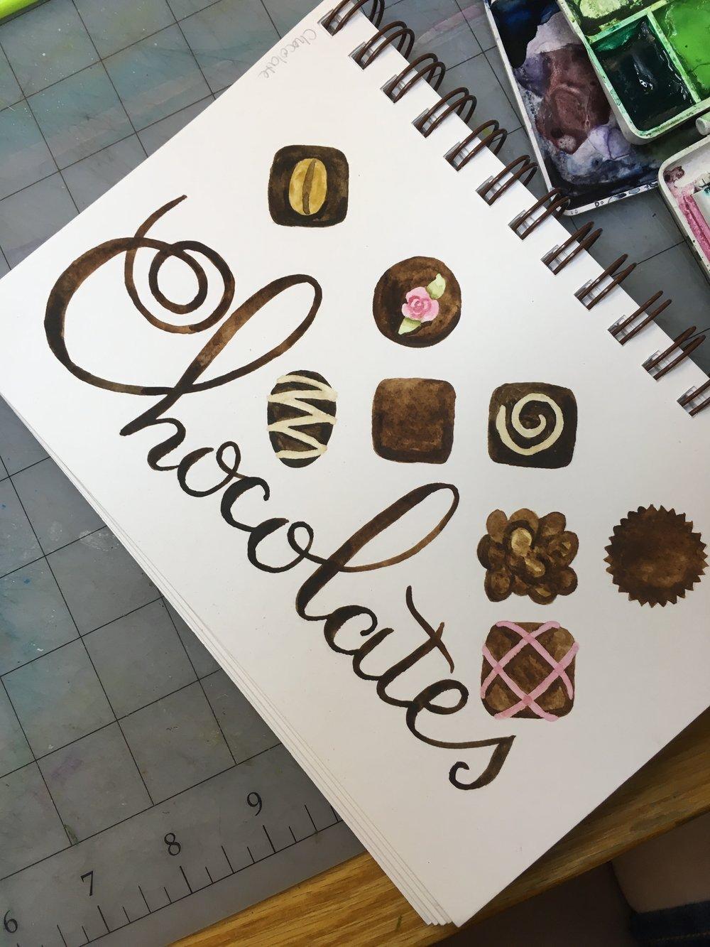 Chocolates, watercolor © Denise Ortakales