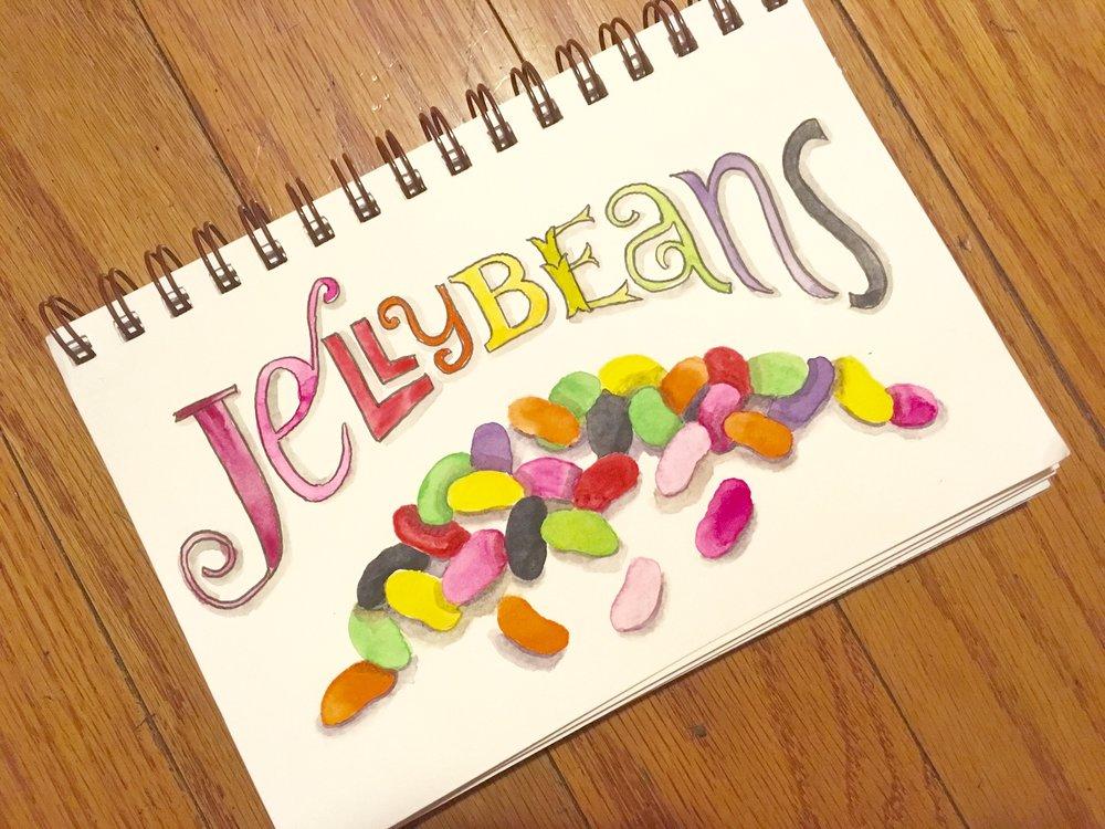 Jelly Beans, watercolor © Denise Ortakales