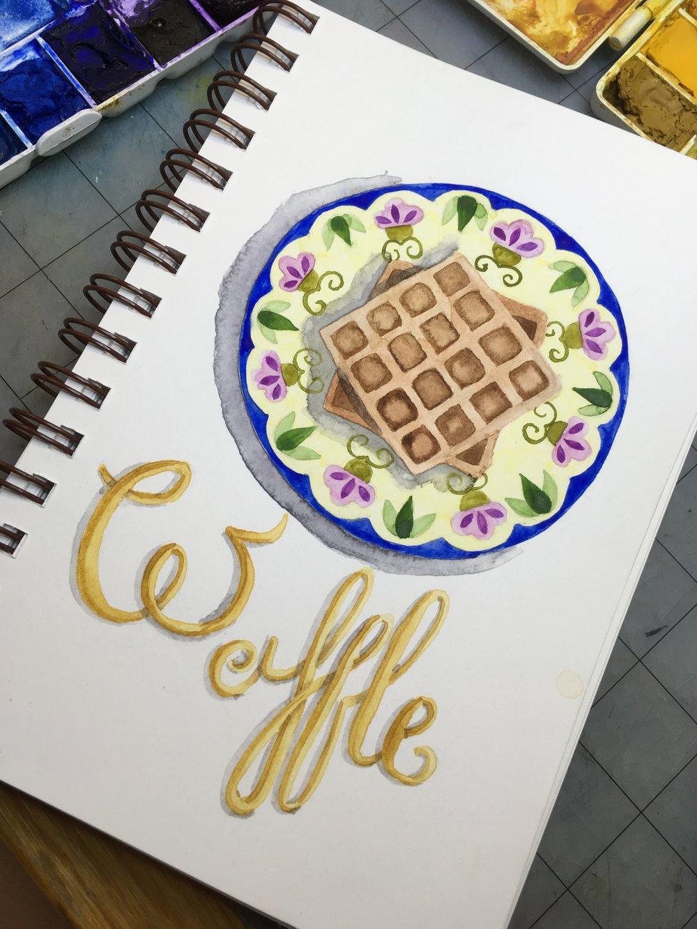 Waffles, watercolor © Denise Ortakales