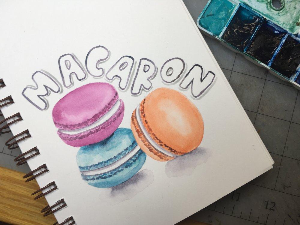 Macarons, watercolor © Denise Ortakales