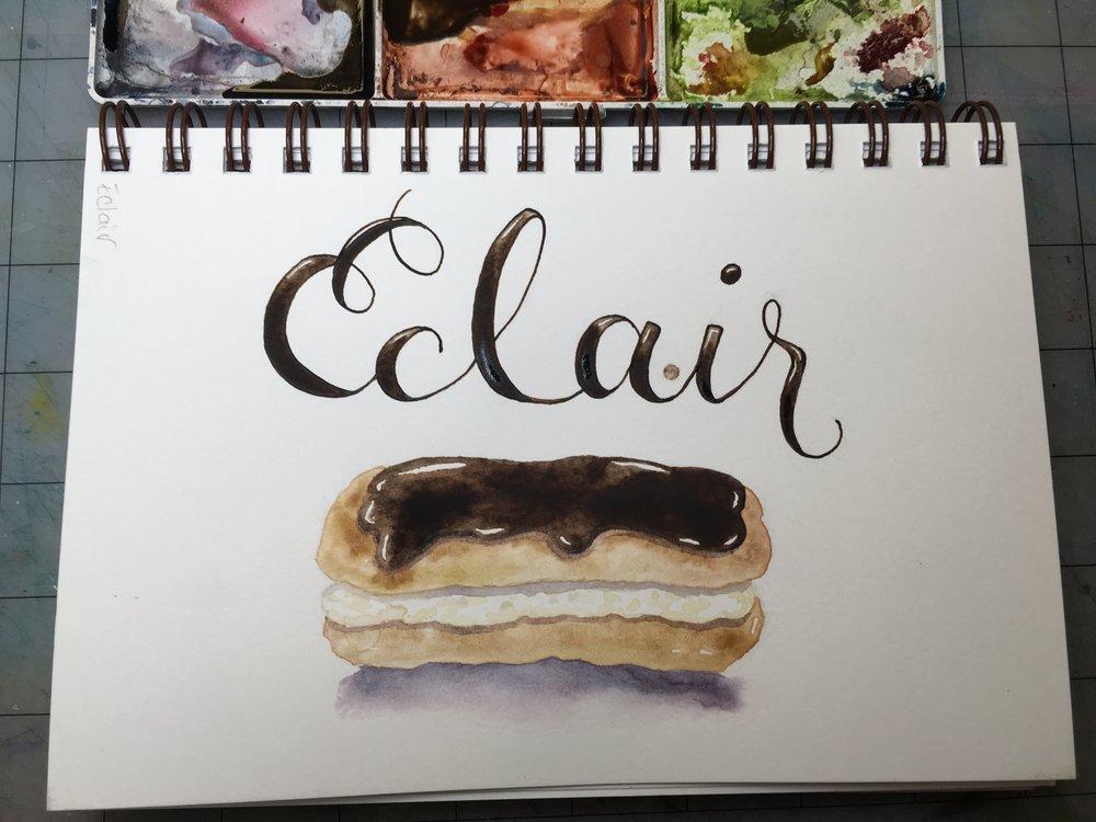 Eclair, watercolor © Denise Ortakales